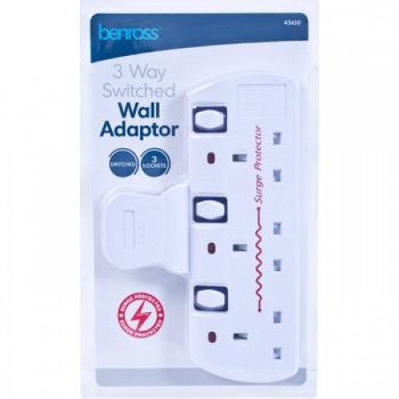 3 Gang Switched Multiway Surge Adapter
