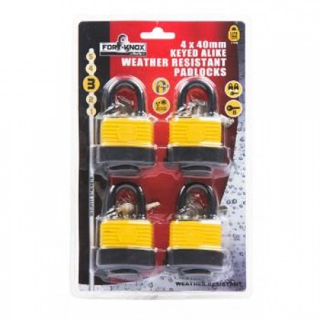 Padlock Weather Proof 40mm 4pc