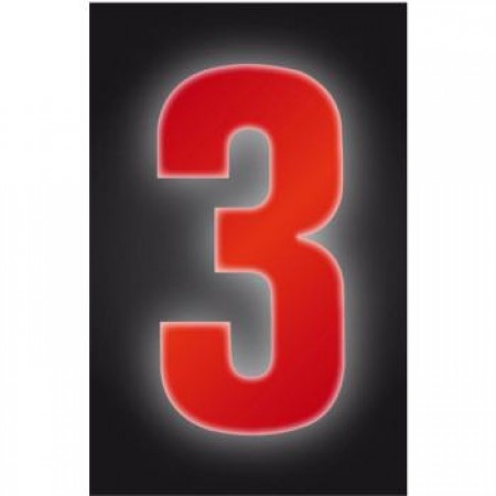 Wheelie Bin Number Sticker Hi Vis Red