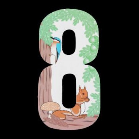 Wheelie Bin Number Sticker Squirrel Woodland