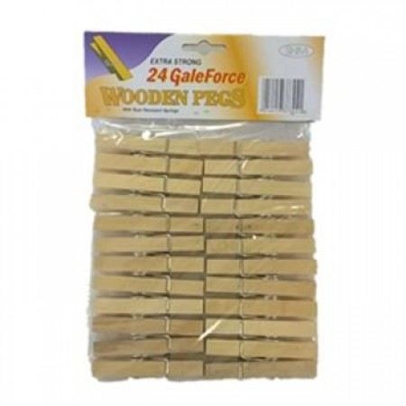 Extra Strong Galeforce Wooden Pegs - 24pk