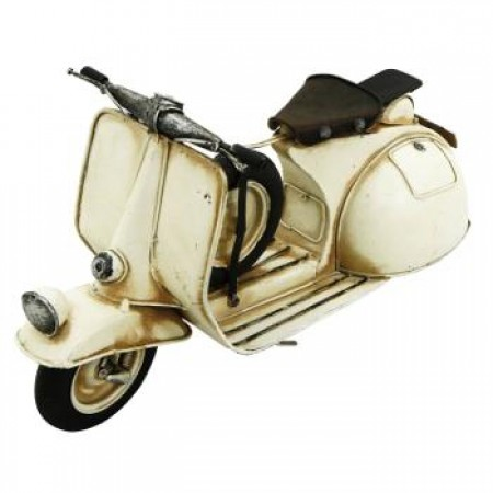 Ornament Metal White Scooter